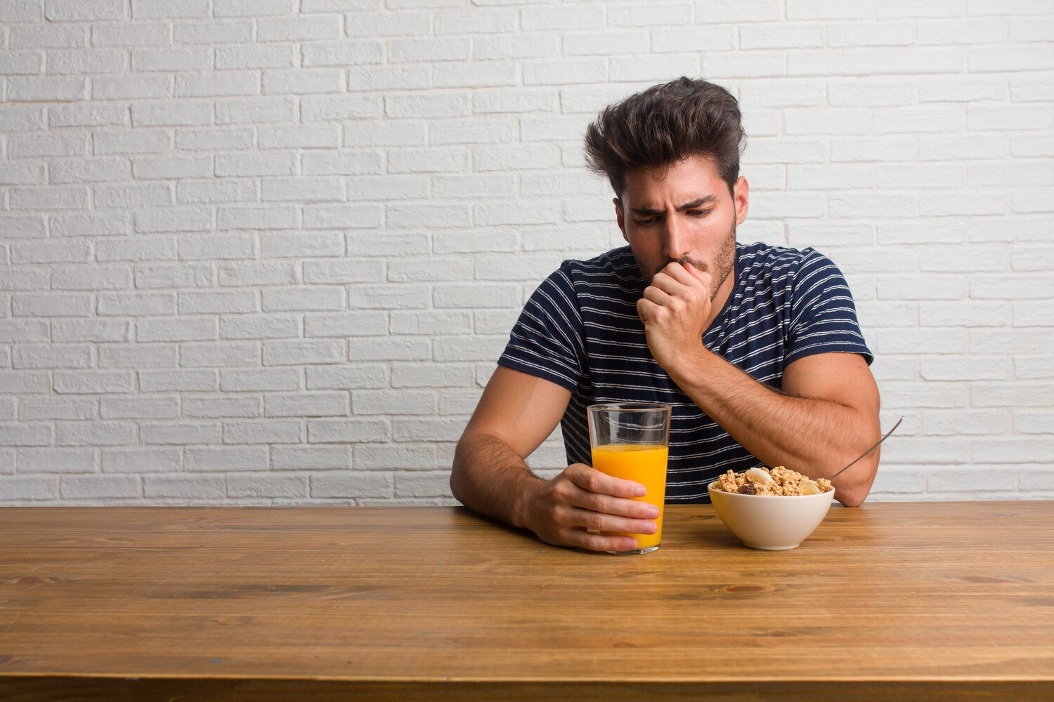 rsz young handsome natural man sitting table with sore throat sick due virus